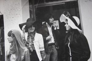 Jeni Crowley and friends outside the Apple Shop in July 1968 - waiting to be picked up to attend he Premiere of Yellow Submarine