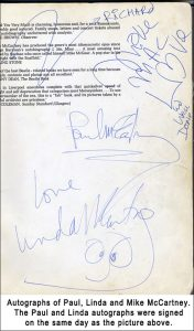 The autographs of Paul, Linda and Mike McCartney