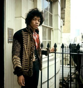 Jimi Hendrix on the steps of 34 Montague Square