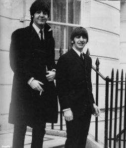 Paul and Ringo on the steps of 34 Montagu Square, waiting their ride to Buckingham Palace, to see the Queen