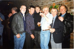 Rod Davis, Eric Griffiths, Len Garry, Pete Shotton, Colin Hanton and John 'Duff Lowe' at the Cavern Club