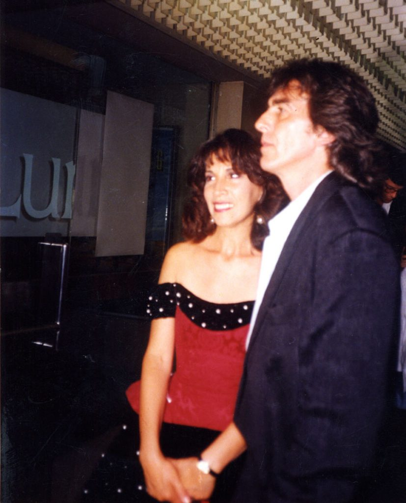 George and Olivia Harrison at the Premiere of 'How to Get Ahead in Advertising, London 1989