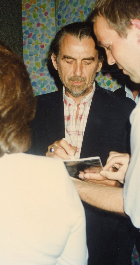 George Harrison at a Ravi Shankar Concert at the Barbican, London, 1996.