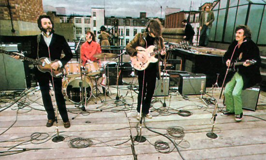 The Beatles on the roof of 3 Savile Row, January 30th 1969