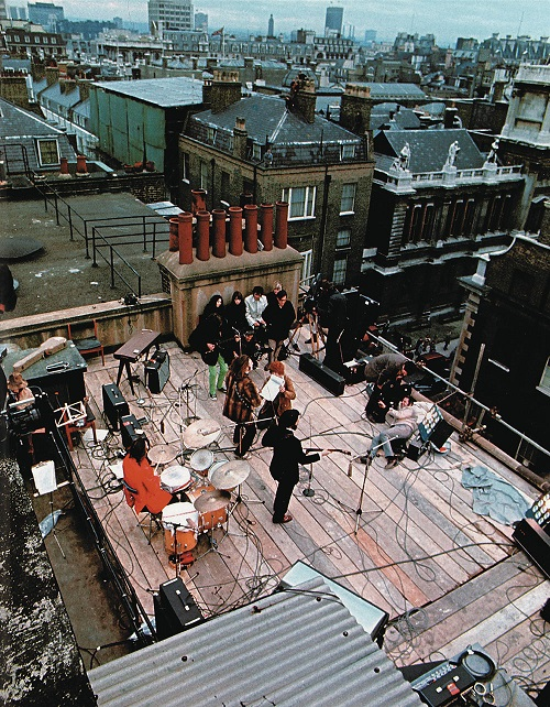 The Beatles on the roof of 3 Savile Row - looking down from above
