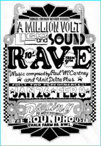 A poster the The Million Volt Light and Sound Rave - where Carnival of Light was premiered
