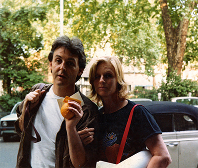 Paul and Linda McCartney in Soho Square, London