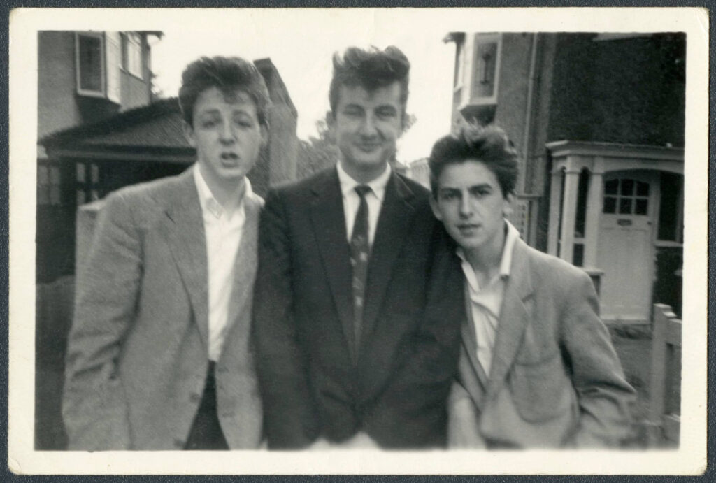 Paul McCartney, George Harrison and Ivan Vaughan,