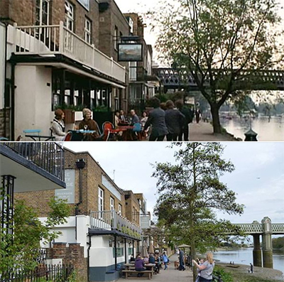 City Barge Pub in the 60s and today