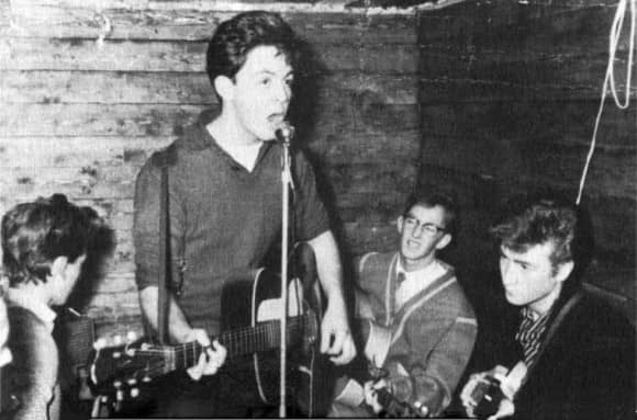 George Harrison, Paul McCartney, Ken Brown, and John Lennon at the Casbah Club, Liverpool