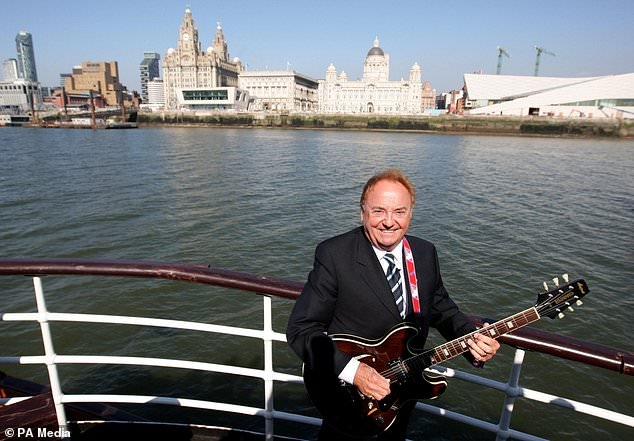 Gerry Marsden on the Mersey ferry in Liverpool