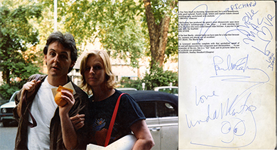 Paul and Linda McCartney autograph in Soho Square