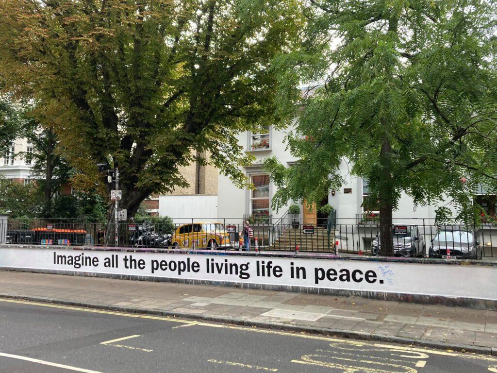 John Lennon's Imagine on the wall of Abbey Road Studios